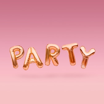 Golden word party made of inflatable balloons floating on pink background. gold foil balloon letters. celebration concept.