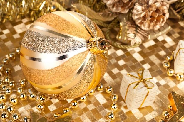 Golden xmas decorations