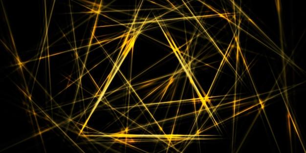 黄金色の黄色の輝き直線対照的な三角形の背景画像3dイラスト