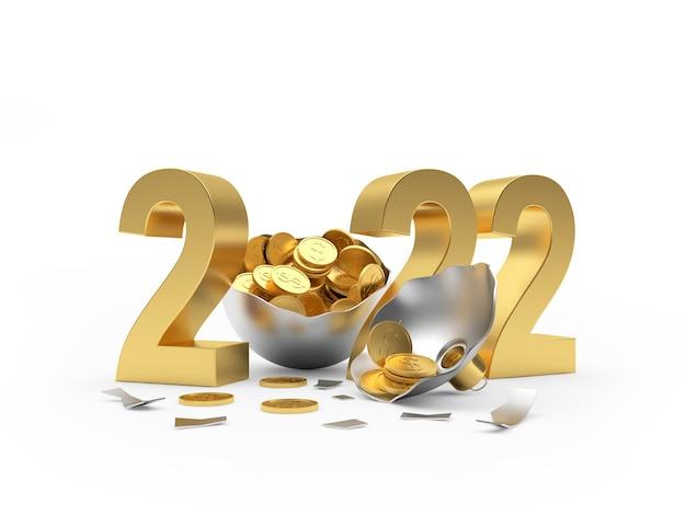 Номер goldennew years с монетами в сломанном новогоднем шаре