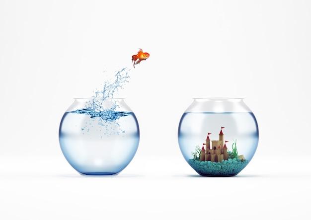 Золотая рыбка прыгает в аквариум с замком. концепция улучшения и прогресса. 3d-рендеринг