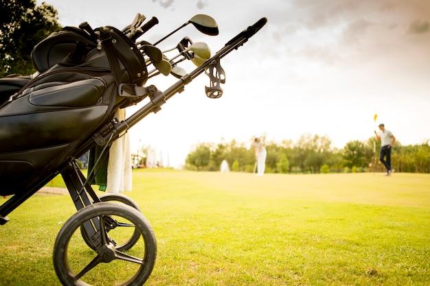 Сумка для гольфа с клубами на зеленом поле