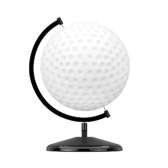 흰색 바탕에 지구 글로브의 모양에 골프 공. 3d 렌더링