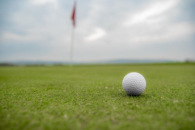 Мяч для гольфа на поле для гольфа перед ударом в яму