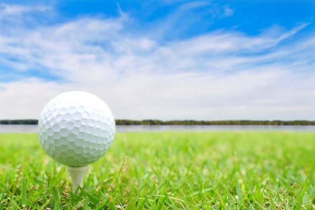 Golf ball on tee in green grass.