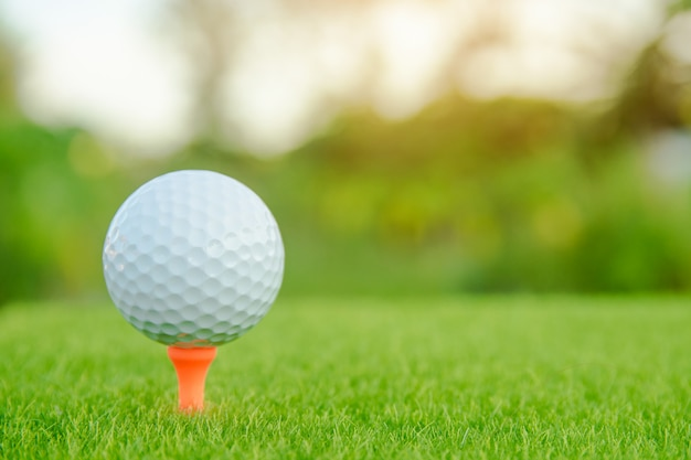 Golf ball with orange tee on green grass ready to play at golf course.