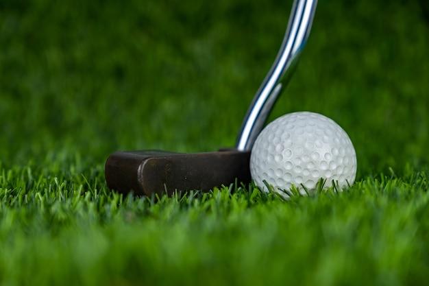 Golf ball with putter on green grass
