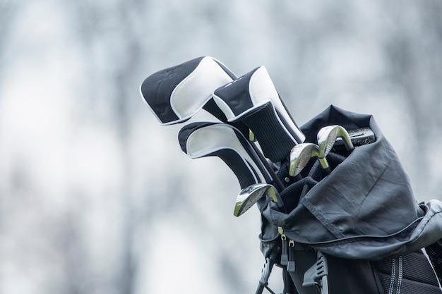 골프를 칠 준비가 된 카트에 골프 클럽이 있습니다. 녹색 잔디에 골프 코스입니다.