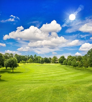 Поле для гольфа и голубое солнечное небо. европейский зеленый полевой пейзаж