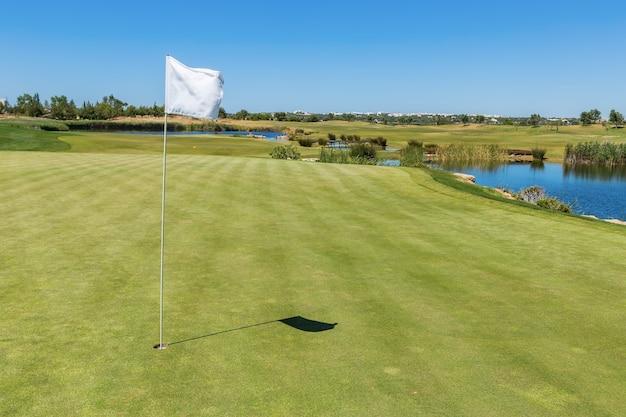Поле для гольфа. флаг из дыры на переднем плане.