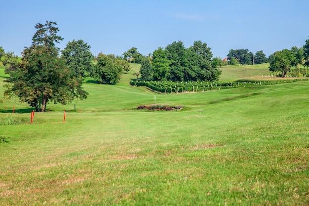 晴れた日にブドウ園と木々があるスロベニアのズラティグリックのゴルフコース