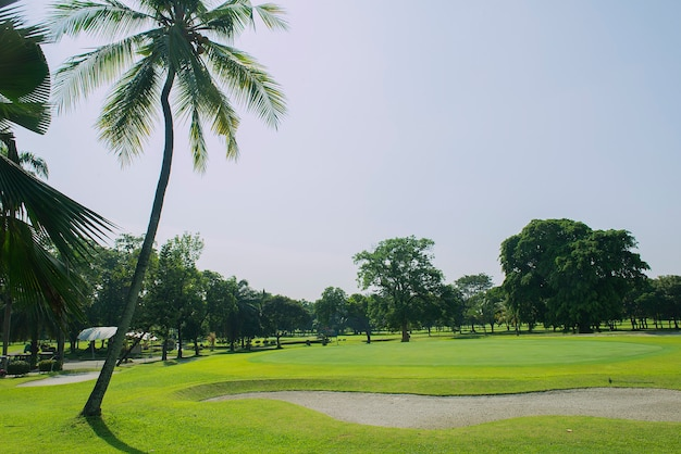 Golf course with blue sky background