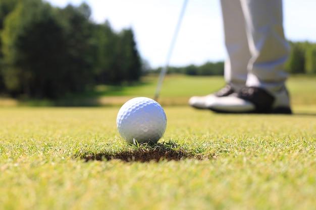 Игрок в гольф на лужайке, попадающей в лунку.