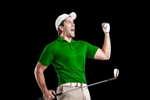 축 하, 검정색 배경에 녹색 셔츠에 골프 선수.