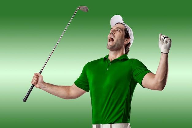 축 하, 녹색 배경에 녹색 셔츠에 골프 선수.