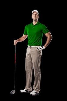 검은 색에 녹색 셔츠 서에서 골프 선수.