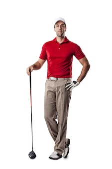 Golf player in a red shirt standing on a white space.