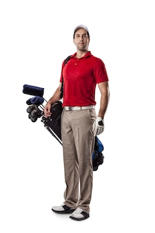 Golf player in a red shirt, standing with a bag of golf clubs on his back, on a white space.