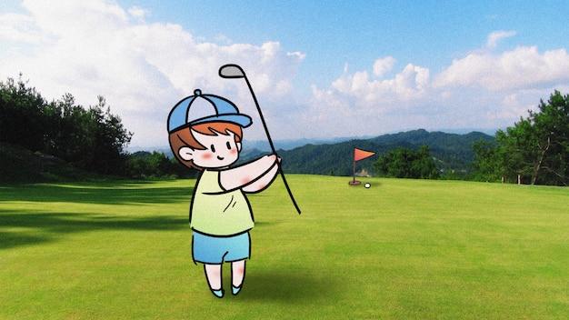 Golfing: creative photography illustration mixed