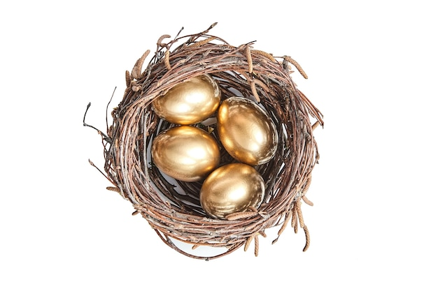 Golgen eggs in a basket of birch branches. painted easter chicken egg in the brown nest