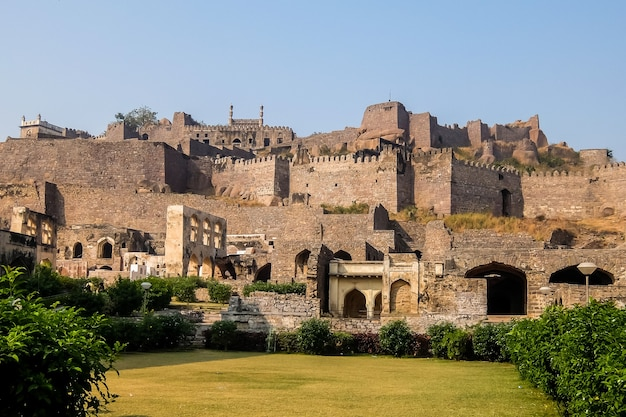 Golkonda is a citadel and fort in southern india is situated 11 km west of hyderabad
