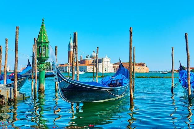 이탈리아 베니스의 곤돌라. 베네치아 전망, 도시 풍경