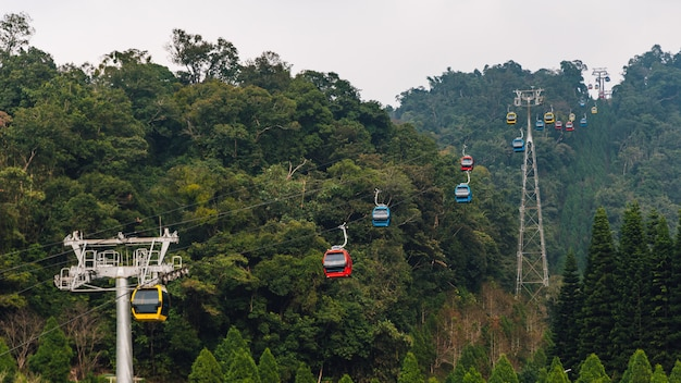 Gondola lifts moving over mountain from post to post with green trees