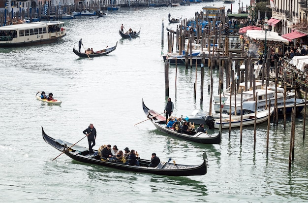 Gondolas on the grand canal of venice