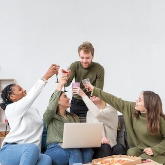 Good friends toasting