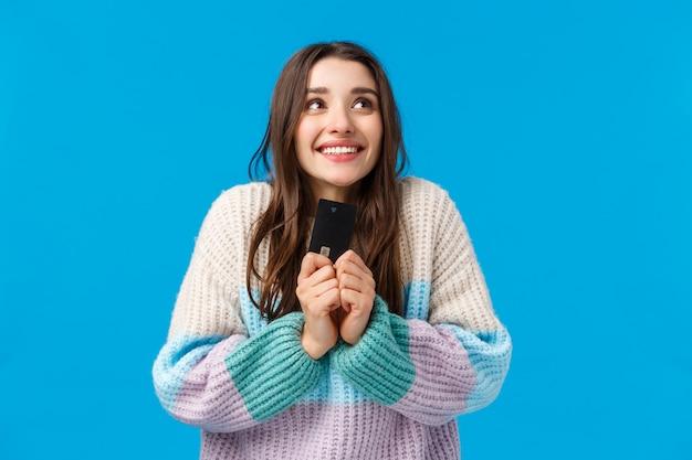 Good-looking female in sweater showing gesture.