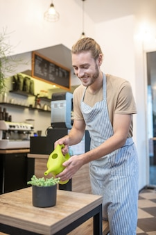 良い雰囲気。カフェのテーブルにtシャツとエプロンの水やりの家の植物でうれしそうな魅力的な若いひげを生やした男