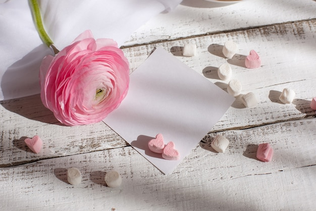 Good morning card in pink a cup of coffee a marshmallow and a pink flower