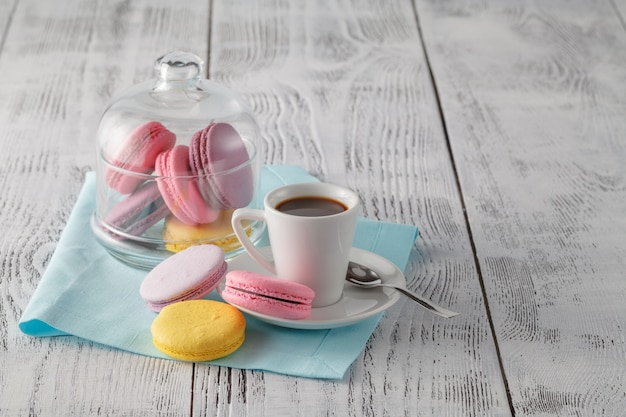 Good morning concept with espresso and macaroons
