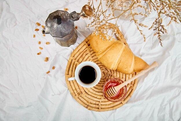 おはようございます。クロワッサンとジャムとコーヒー2杯。