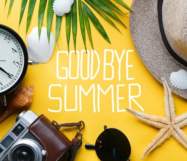 Goodbye summer text flat lay