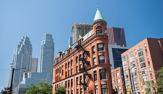 Gooderham building and toronto skyline in canada