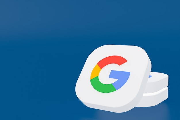 Google application logo 3d rendering on blue background
