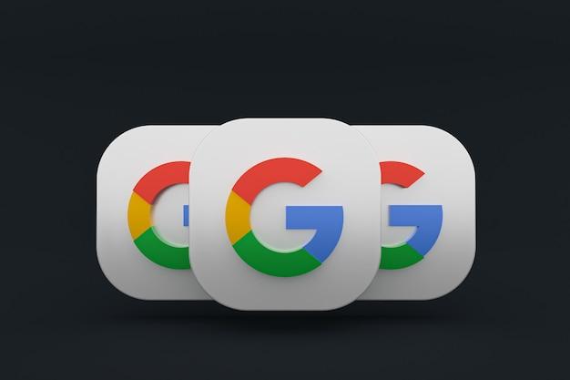 3d-рендеринг логотипа приложения google на черном фоне