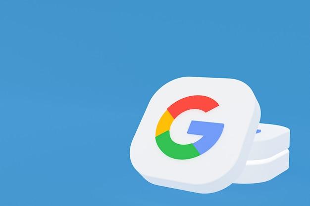 3d-рендеринг логотипа приложения google на синем фоне