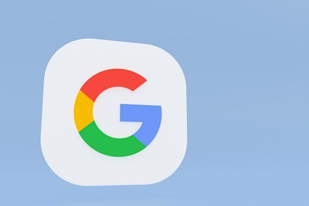 파란색 배경에 google 응용 프로그램 로고 3d 렌더링