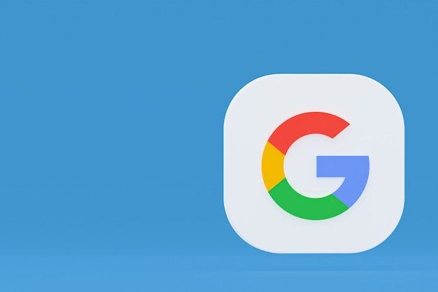 青い背景にgoogleアプリケーションのロゴの3dレンダリング