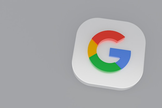 3d-рендеринг логотипа приложения google на сером фоне