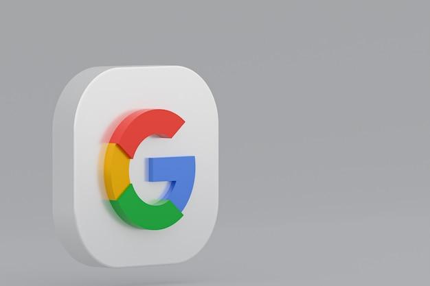 灰色の背景にgoogleアプリケーションのロゴの3dレンダリング
