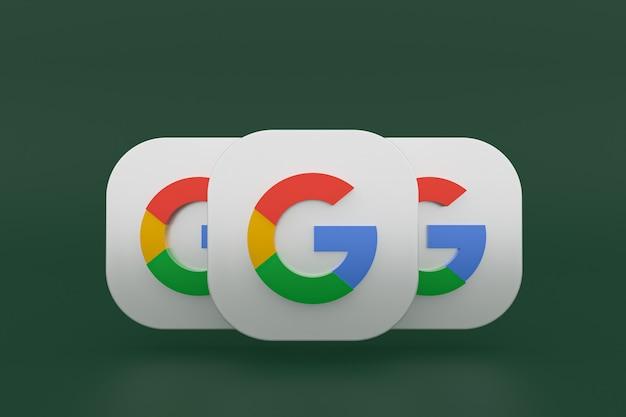 3d-рендеринг логотипа приложения google на зеленом фоне