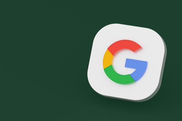 緑の背景にgoogleアプリケーションのロゴの3dレンダリング