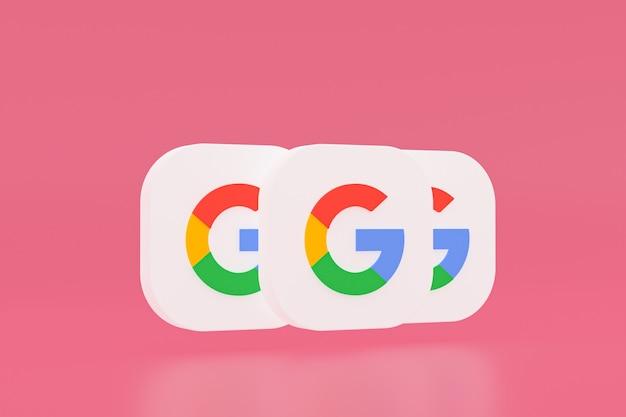 분홍색 배경에 google 응용 프로그램 로고 3d 렌더링