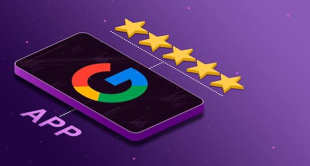 별 5 개 등급 3d로 휴대 전화의 google 애플리케이션 로고