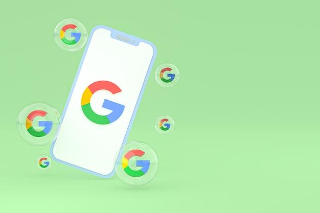 画面上のgoogleアイコン携帯電話の3dレンダリング