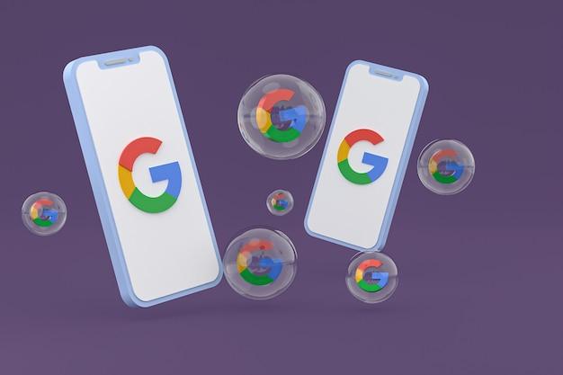 Значок google на экране мобильных телефонов 3d визуализации