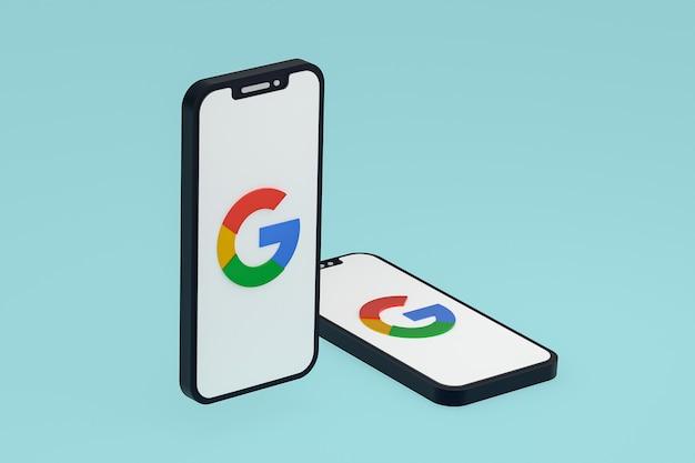 화면 휴대 전화 3d 렌더링에 google 아이콘